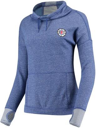 Antigua Women's Heathered Royal LA Clippers Snap Cowl Neck Pullover Sweatshirt