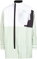 Raf Simons Green Striped Linen Shirt