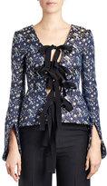 Erdem Mila Floral-Print Tie-Front Jacket, Blue