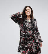 Asos V Neck Smock Dress With Balloon Sleeve In Floral Print