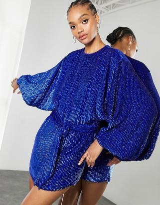 ASOS EDITION oversized blouson sleeve mini dress in royal blue sequin