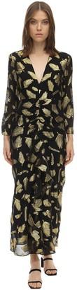 Rixo Silk Blend Lame Midi Dress