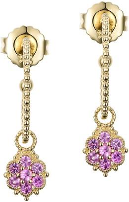 Judith Ripka 14K Gold Pink Sapphire Beaded HoopEarrings