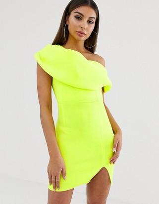 Asos Design DESIGN one shoulder fold detail mini dress-Green