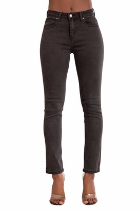 Glook Womens Grey Skinny Jeans High Waisted Skinny Jeans Straight Leg Jeans (UK 12