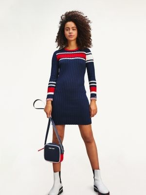 Tommy Hilfiger Ribbed Texture Stripe Jumper Dress