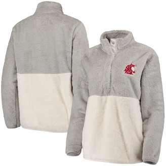 Women's Gray Washington State Cougars Fuzzy Fleece Colorblock Quarter-Snap Pullover Jacket
