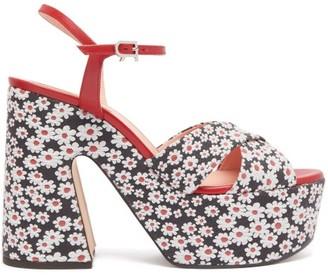Rochas Daisy-jacquard Platform Sandals - Womens - White Black