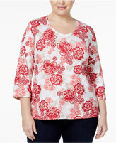 Karen Scott Plus Size V-Neck Floral-Print Top, Only at Macy's