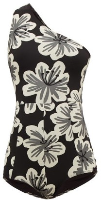 Dodo Bar Or Galina Asymmetric Floral-print Swimsuit - Black Print