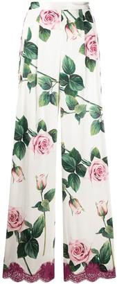 Dolce & Gabbana Tropical Rose Print Wide-Leg Trousers