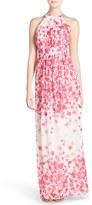 Eliza J Petite Women's Print Pleated Chiffon Maxi Dress