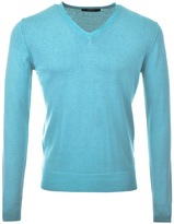 Replay Knitted V Neck Jumper Turquoise