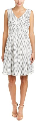 Julia Jordan Women's Sleevless V Neck Fit and Flare Polka Dotte Dress Ivory/Black 12