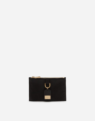 Dolce & Gabbana Flat Soft Dna Belt Bag In Nylon With Branded Metal Plate