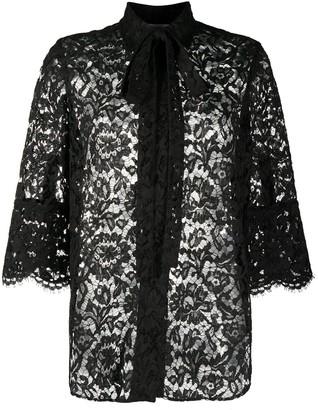 Valentino Tie Neck Floral Lace Blouse