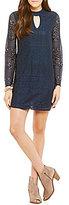 Xtraordinary Choker Neck Illusion Lace Long-Sleeve Dress