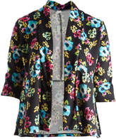 Glam Black & Teal Floral Open Cardigan - Plus