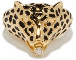 Yvonne Léon Leopard Diamond & 9kt Gold Ring - Gold Multi