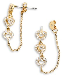 BaubleBar Amor Cubic Zirconia Heart & Chain Front to Back Earrings in 14K Gold Plated Sterling Silver