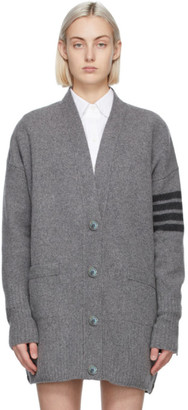 Thom Browne Grey Cashmere Exaggerated Fit 4-Bar Cardigan