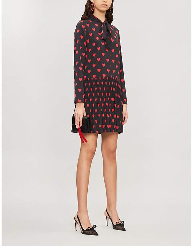 RED Valentino Heart-print long-sleeved crepe mini dress
