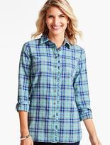 Talbots Ruffled Yuletide Plaid Shirt-Merriment Plaid