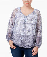 INC International Concepts Plus Size Lace-Up Peasant Top, Only at Macy's