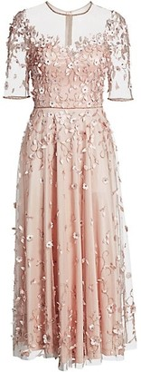 Theia Floral Applique Illusion Midi A-Line Dress
