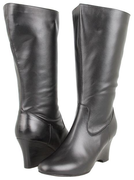 Fitzwell Lyra Low Wide Calf Boot (Black Soft Calf) - Footwear