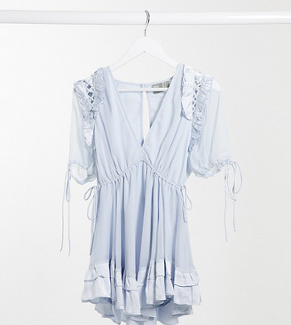 ASOS DESIGN Petite mini dress with satin trim ruffle and tie detail in soft blue