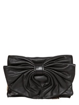 RED Valentino Nappa Leather Bow Clutch