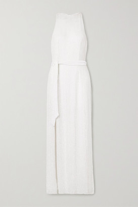 retrofete Tilly Belted Sequined Chiffon Maxi Dress - White
