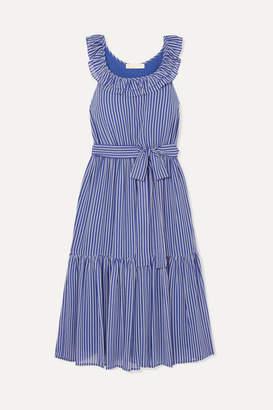 MICHAEL Michael Kors Striped Tiered Crepe Midi Dress - Blue