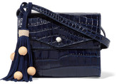 Elizabeth and James Eloise Croc-effect Glossed-leather Shoulder Bag - Navy