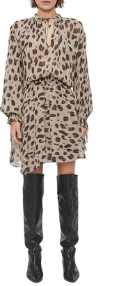Anine Bing Elliana Leopard Print Long Sleeve Silk Chiffon Dress
