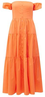 STAUD Elio Off The Shoulder Cotton Blend Maxi Dress - Womens - Orange