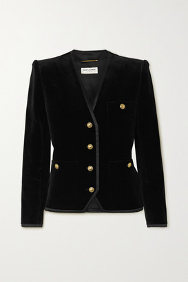 Saint Laurent Grosgrain-trimmed Cotton-velvet Blazer - Black