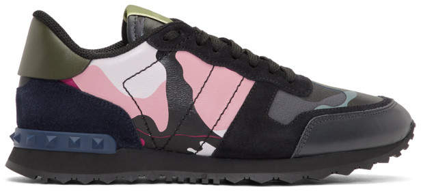 Valentino Blue and Pink Garavani Camo Rockrunner Sneakers