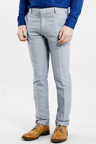 Topman Blue Oxford Skinny Fit Suit Trousers