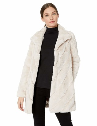 Calvin Klein Women's Faux Fur with HIGH Collar and Diagonal Body Lines