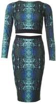 Forever Unique Snake Print Top And Pencil Skirt Set