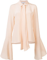 Nellie Partow flare-sleeve bow blouse