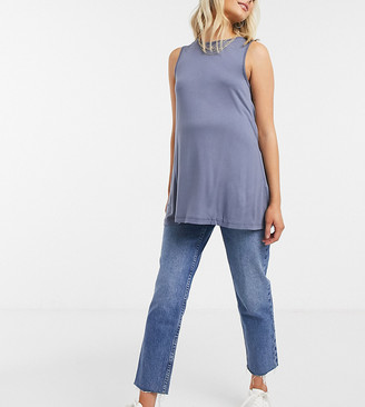 ASOS DESIGN Maternity oversized longline swing vest in elephant grey