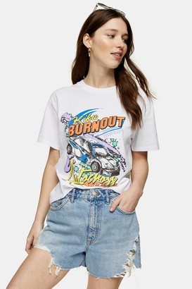 Topshop Womens Escapology Short Sleeve Motocross T-Shirt - Pink