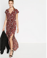 Express floral short sleeve surplice maxi dress