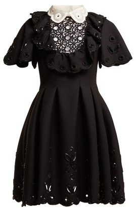 Valentino Sequinned Wool And Silk-blend Mini Dress - Womens - Black Multi