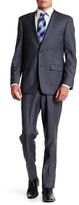 Ike Behar Charcoal Sharkskin Two Button Notch Lapel Wool Suit