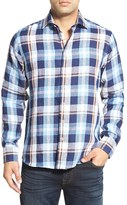 Toscano Men's Regular Fit Plaid Linen Sport Shirt