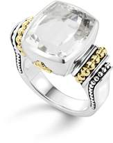 Lagos 18K Gold and Sterling Silver Caviar Color Medium Ring with White Topaz